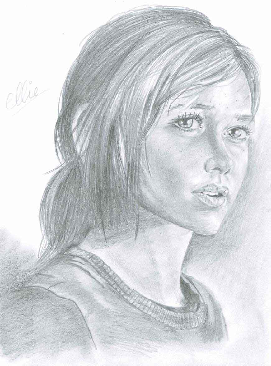 Realistic Pencil Drawing of Ellie from the video game The Last of Us, by Transgender Artist Sophie Lawson