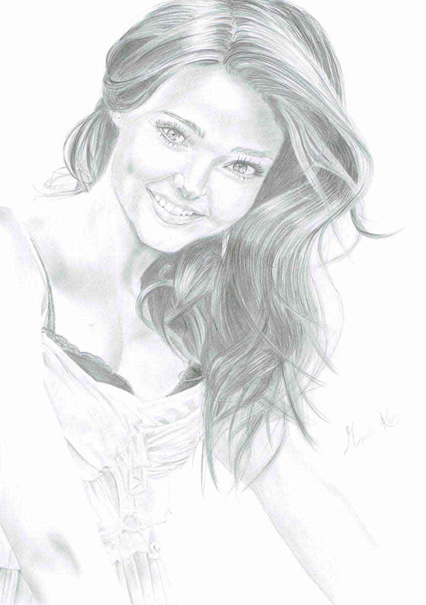 Realistic Pencil Drawing of Victoria's Secret model Miranda Kerr, by Transgender Artist Sophie Lawson