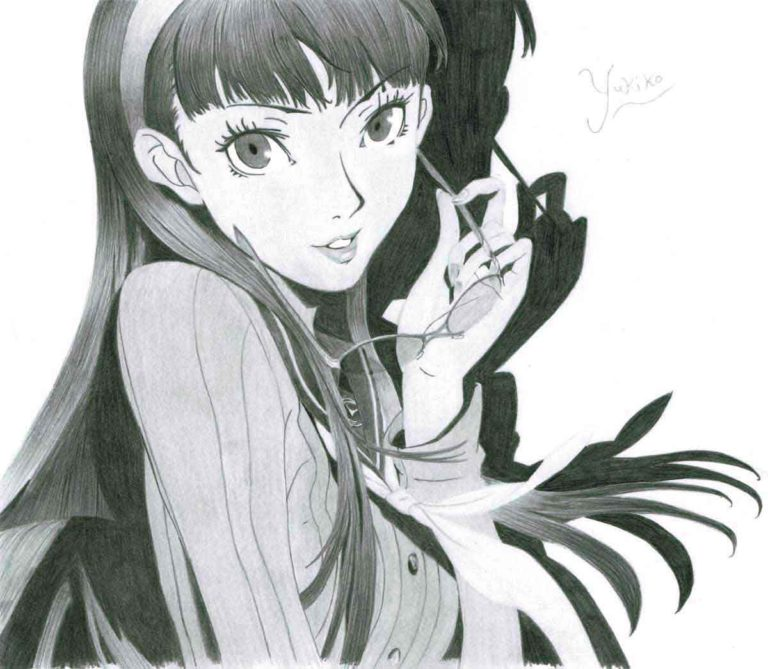Realistic Pencil Drawing of Yukiko Amagi from the video game Persona 4 Golden, by Transgender Artist Sophie Lawson