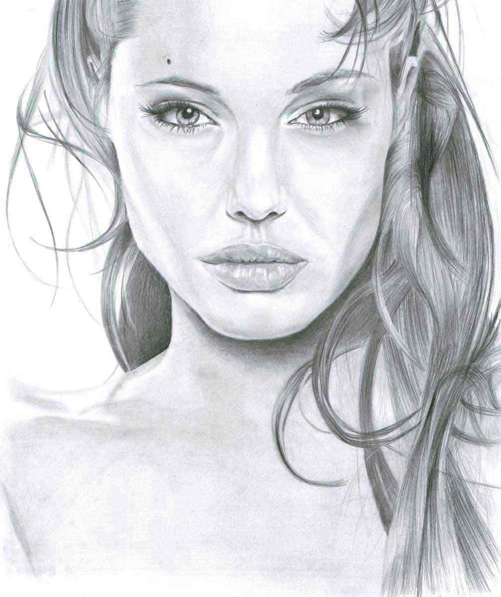 Realistic Pencil Drawing of Actress Angelina Jolie, by Transgender Artist Sophie Lawson