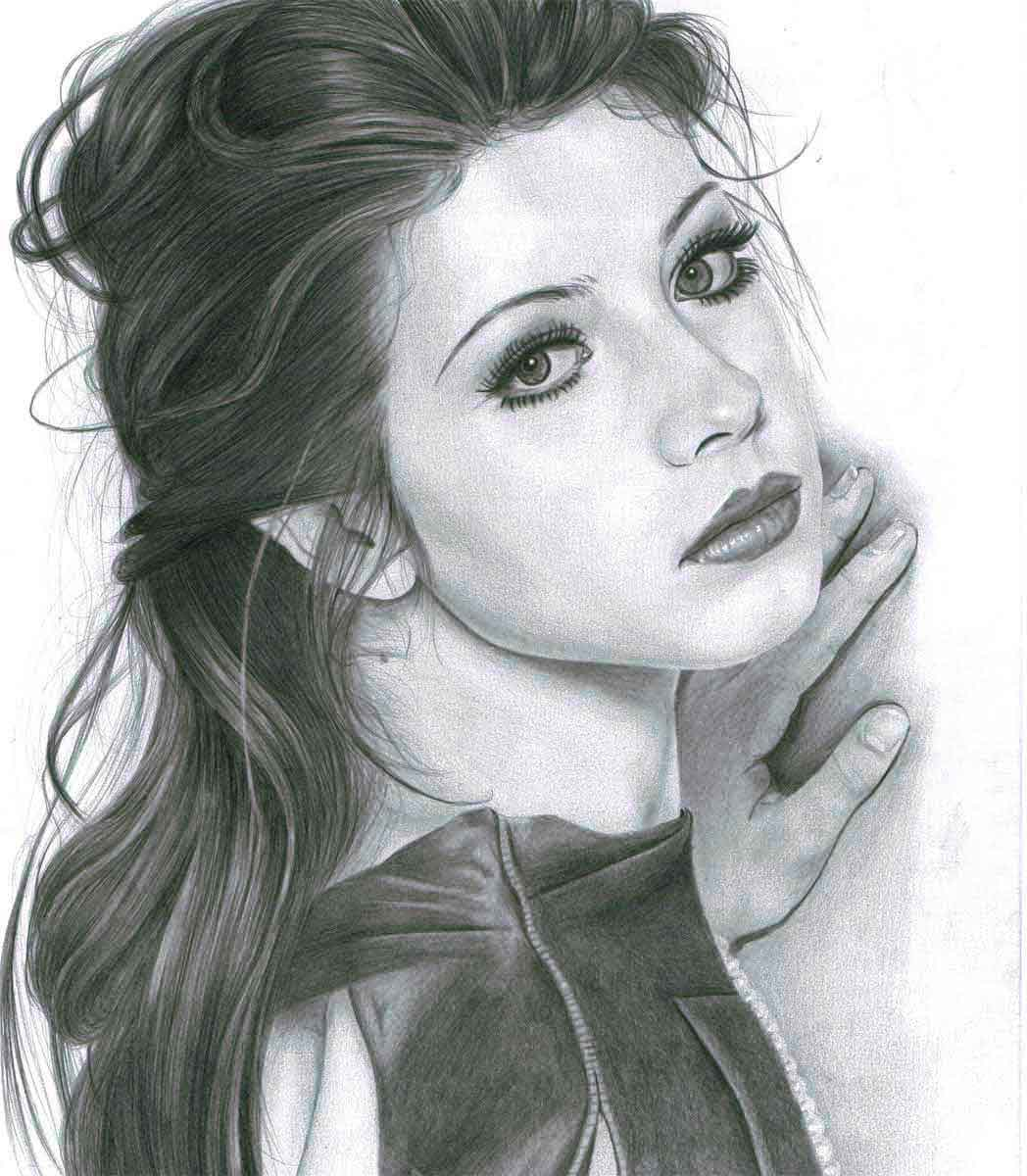 Realistic Pencil Drawing of Actress Michelle Trachtenberg, by Transgender Artist Sophie Lawson