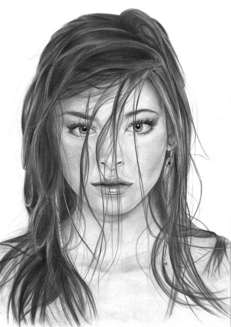 Realistic Pencil Drawing of Actress Kristin Laura Kreuk, by Transgender Artist Sophie Lawson