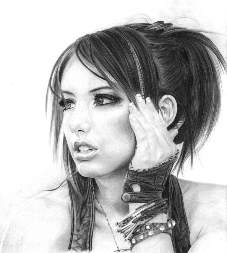 Realistic Pencil Drawing Cosplayer Liz Katz, by Transgender Artist Sophie Lawson