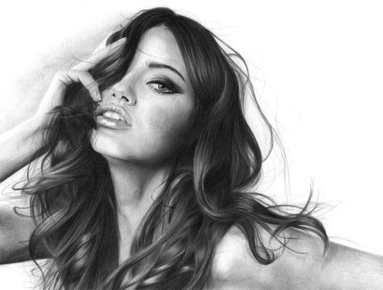 Realistic Pencil Drawing of Victoria's Secret model Adriana Lima, by Transgender Artist Sophie Lawson