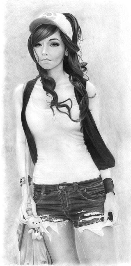 Realistic Pencil Drawing of Cosplayer Amy Thunderbolt Cosplaying Touko Hilda from Pokemon, by Artist Sophie Lawson
