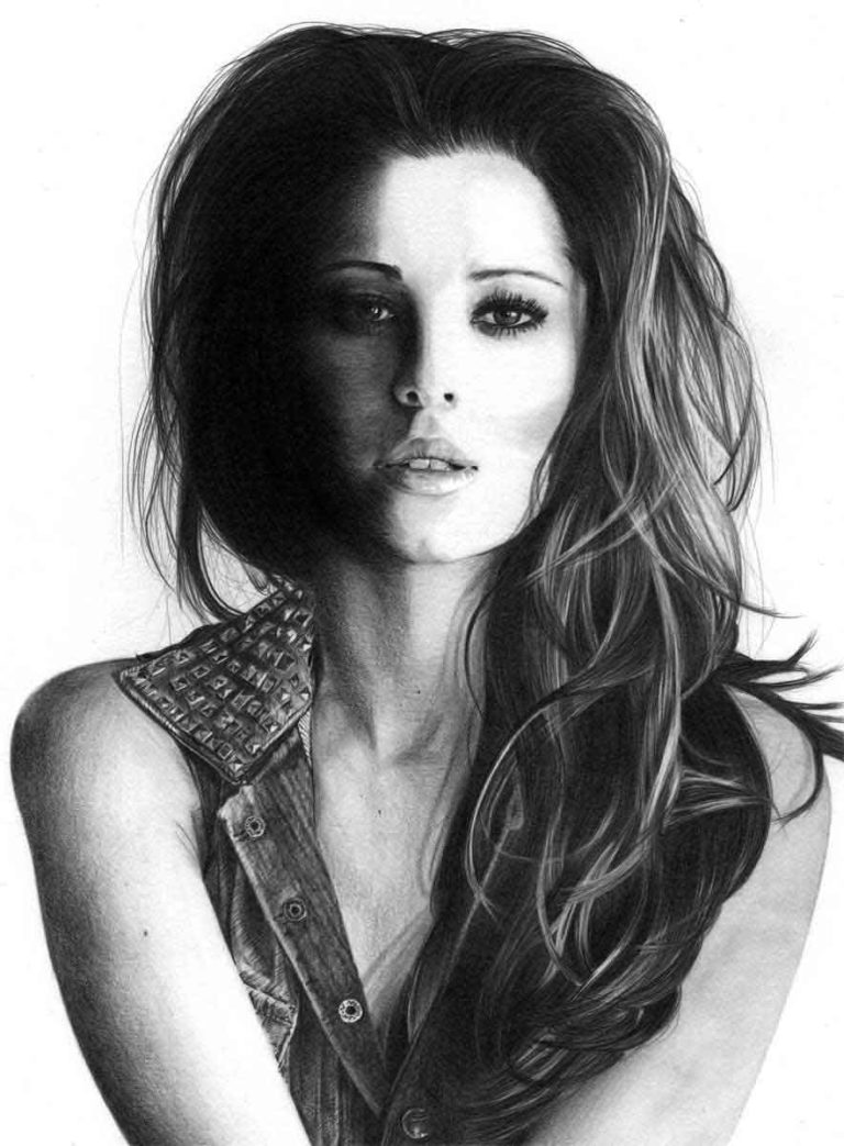 Realistic Pencil Drawing of Singer Cheryl Cole, by Artist Sophie Lawson