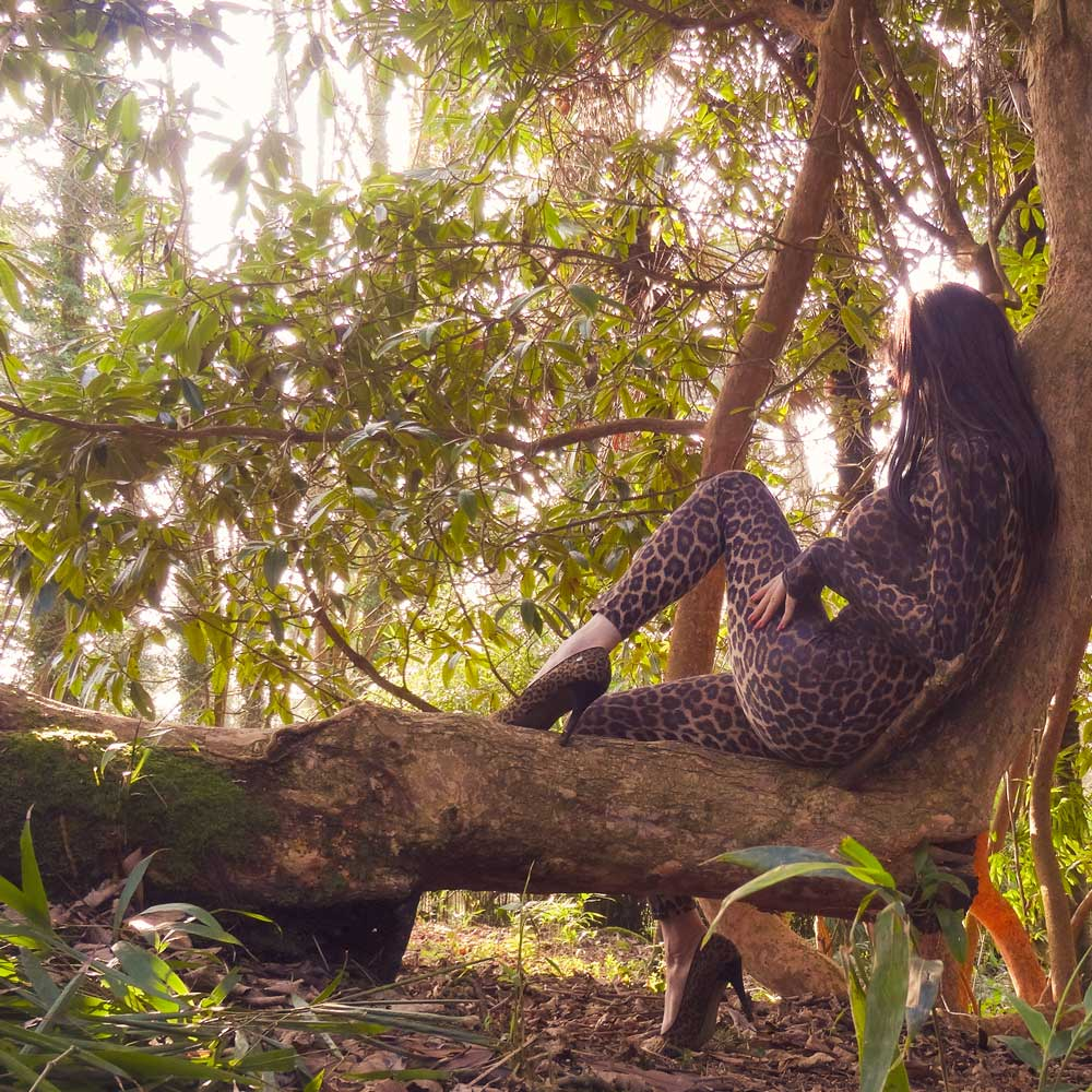 Roxy Leopard Print Catsuit Modelling Photo, by Transgender Model SOPHiE LAWSON