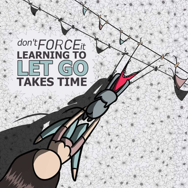 Affirmation 5: Don't Force It, Learning Top Let Go Takes Time, with lilSOPHiE - Digital Painting by Transgender Artist Sophie Lawson