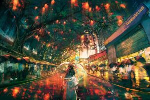 Hong Kong Lights by Artist Yuumei, aka Wenqing Yan