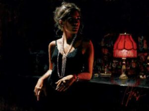 Marina with Red Light by Inspirational Artist Fabian Perez