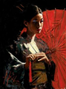 Michiko with Red Umbrella by Inspirational Artist Fabian Perez