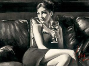 Tess on Leather Couch with Red Wine by Inspirational Artist Fabian Perez