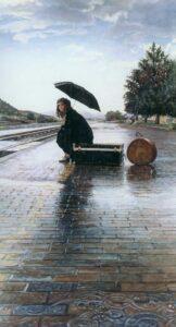 Waiting for the Train by Artist Steve Hanks
