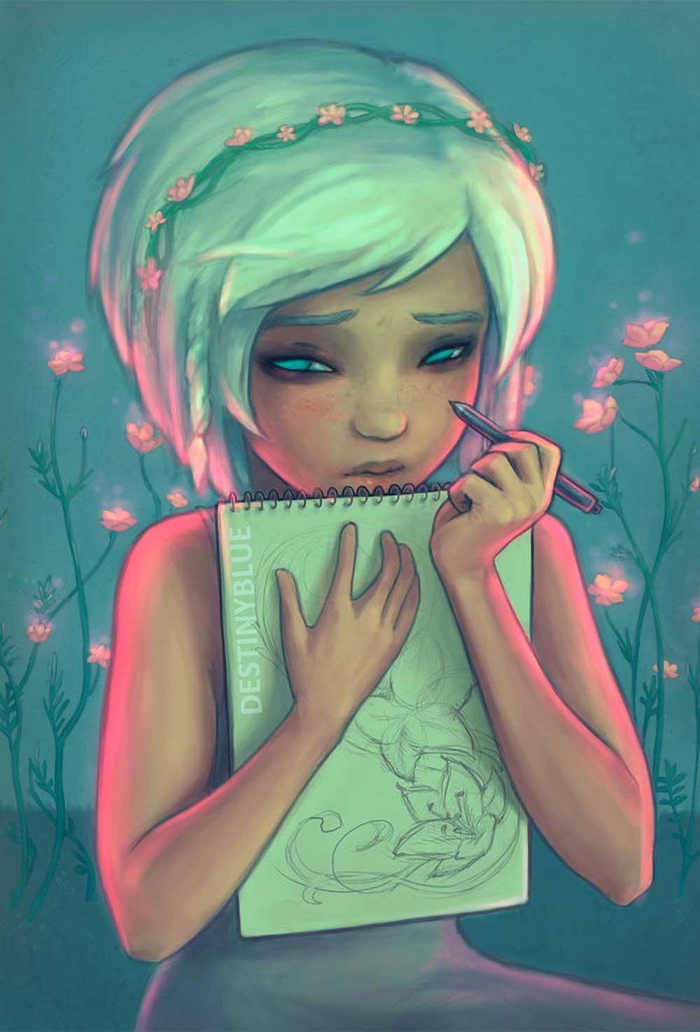 Inspirational Art : Don't Watch Me Draw by DestinyBlue