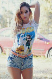 Inspirational Model Amy Thunderbolt Back to the Future Tshirt