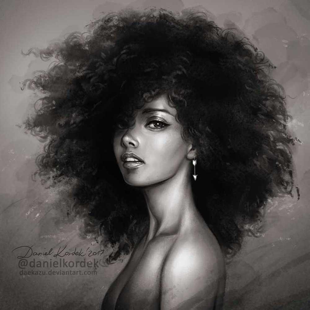 Inspirational Art : Alicia Keys by Daniel Kordek Daekazu