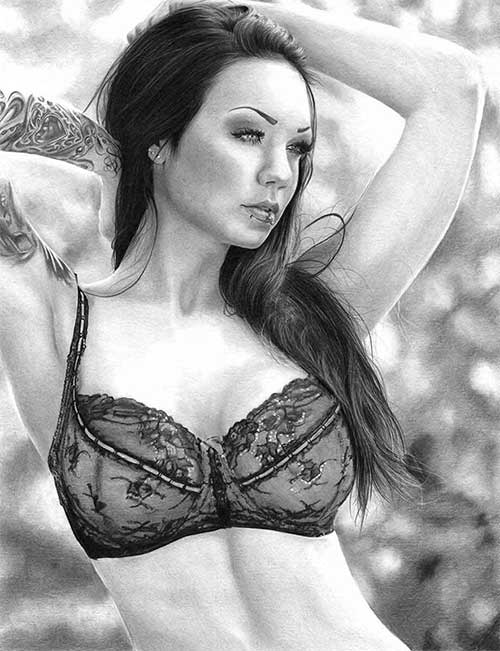 Pencil Drawing of Inspirational Model Starfucked