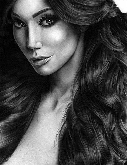 Realistic Pencil Drawing of Inspirational Model Yasmine Petty