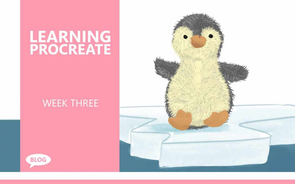 Learning Procreate Week 3 : Study Notes from week 3 of my adventures Learning Procreate: Using Blend Modes to Create Coloured Line Art, Peter the Penguin's Baby, and Traditional Vs Digital Sketches, An Art Blog with Artist Sophie Lawson