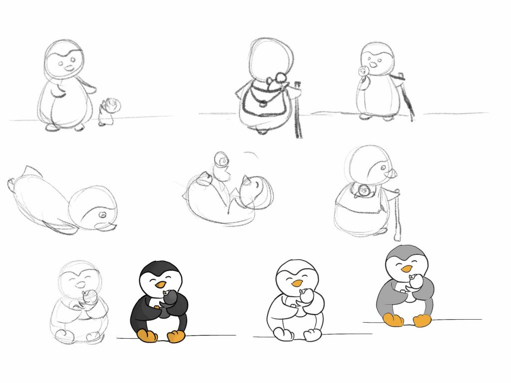 Learning Procreate Week 4 : Peter the Penguin and Peppi Sketches, with Artist Sophie Lawson